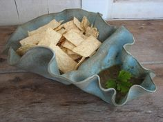 RESERVED Ceramic Chip and Dip Serving Bowl by DirtWares on Etsy