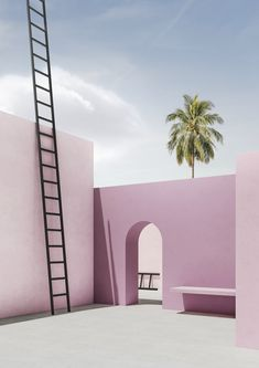 in his series 'ambiguous', digital artist massimo colonna has rendered four images illustrating simple pieces of open-air architecture. Colour Architecture, Minimalist Architecture, Interior Architecture, Rendering Architecture, Architecture Diagrams, Architecture Portfolio, 3d Rendering, Interior Design, Modelos 3d