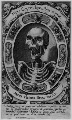 A skull with a gaping mouth; skeleton in an oval surrounded by vanitas motifs, including hourglasses. Engraving, dutch, print made by Egbert van Panderen, Vanitas, Retro Kunst, Art Noir, Arte Obscura, Occult Art, Occult Symbols, Danse Macabre, Arte Horror, Skull And Bones