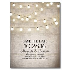 Rustic burlap and string lights save the date post card