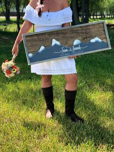 Excited to share this item from my #etsy shop: Mountain Wedding Guest Book Alternative-  Mountain Wall Art - Wedding Guestbook - Rustic Wood Wedding Sign #wedding #rustic #personalizedwedding #woodguestbook #alternative #weddingguestbook #weddingguestbookideas