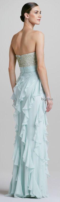 Badgley Mischka -- Strapless Sequined Bodice Ruffle-Bottom Gown