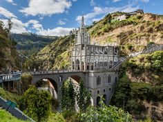 The Las Lajas Sanctuary in Narino, Colombia, is equally mystifying. It looks like it defies gravity.