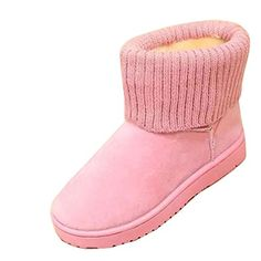 Womens Frosted Knitted Tassel Sneakers Snug Rabbit Fur Lined Turndown Collar Fashion Boots Pink 75 US >>> You can find more details by visiting the image link.(This is an Amazon affiliate link)