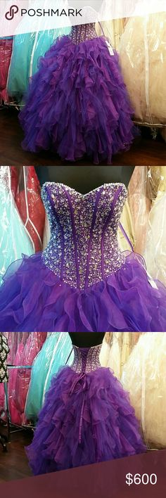 NWT Mori Lee Purple Quince Dress Brand new, only used as store display, purple organza with a deeper purple tulle ruffle skirt, beaded bodice with sweetheart neckline, corset back allows for a more comfortable fit, sequins throughout skirt, can be worn with or without petticoat/crinoline, great for prom, homecoming, wedding, pageants, Quince/Quinceanera, Sweet 16, parties, or any formal event. Comes with matching bolero jacket. Size 8, can fit size 6 and 10. Also available in Aqua size 14…
