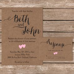 A sweet and simple rustic wedding invite with a beautiful calligraphy design. These invites are fully customizable with your details and color choice