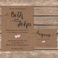 Printable Wedding Invitation  RSVP / Kraft Paper / Wedding Set / DIY Bride