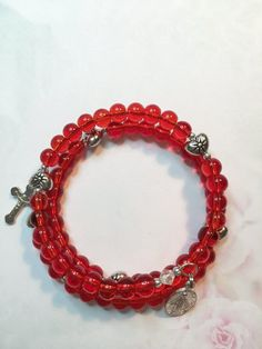 Red Glass and Puffed Heart Rosary Bracelet, Sacred Heart Rosary Bracelet, St. Valentine's Day, Memory Wire Bracelet, One Size fits All by LivAriaDesigns on Etsy