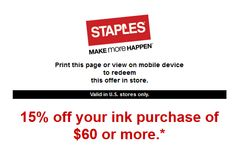 Staples discount coupons for ink cartridges