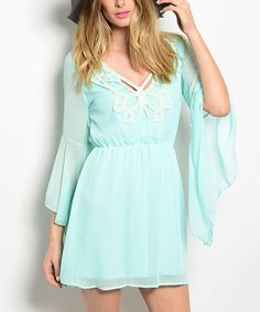Another great find on #zulily! Aqua Butterfly V-Neck Dress by Buy in America #zulilyfinds