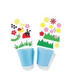 "Growing up a gardener! A kid-size planting pots and stickers with a pint-size water can, so they can be a pro garden guru like you! Pots come with easy stick-on shapes to decorate their pots and for some extra fun!FEATURES• Set of 2 plastic pots with EVA and gem stickers• 5.25"" diam. X 5"" high each• Ages 3 and up• Pale blue pots• Decorations include grass, flowers, sum, lady bug, and gemsMATERIALS• PlasticCARE• Wipe clean with a dam..."