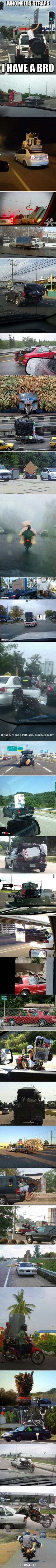 We have rounded up some strange and bizarre, yet real, examples of how not to transport things.