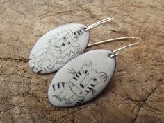 Tiger Lion earrings circus jewellery enamel by ThemSilverSeas