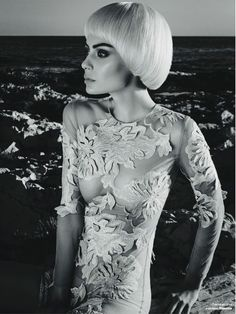 In Bloom - Blumarine Spring Summer 2015 • Tulle dress with floral embroidery. • VOGUE, Ukraine - May 2015