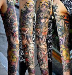 Jack skellington full arm tattoo, Nightmare before christmas tattoos Insane Tattoos, Sexy Tattoos, Body Art Tattoos, Cool Tattoos, Tatoos, Awesome Tattoos, Tattoos Pics, Tattoo Images, Arm Tattoos