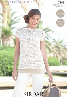 Short Sleeved Top Size 32 34 36 38 40 42 44 46 48 50 52 54 inches Cotton 4 Ply - Shade 502 3 3 3 4 4 4 100g balls Needle size 2 00 3 50 Crochet