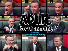 """Here is Christopher Pyne demonstrating his notion of """"adult government"""". (All pics taken in March 2015) #AusPol"""