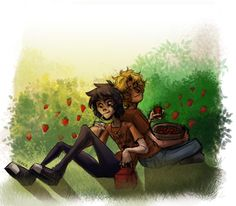 Solangelo .:. Strawberry Fields by sjsaberfan Will probably isn't too keen on Nico's unhealthy diet, but as long as it keeps him smiling Will lets it slide most of the time.  These two spending some quality time in the strawberry fields. No doubt are Lou Ellen and Cecil following them around with binoculars and spying on them, making bets on who will make the first move. x'D Seriously guys, everyone knows you two are practically dating except you two.