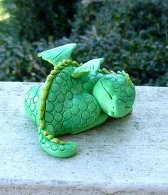 Ooak handmade polymer clay Sleeping Baby Dragon by Mystic Reflections