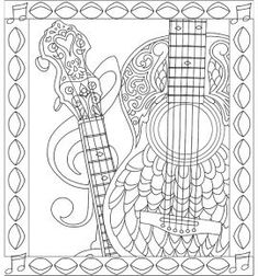 Guitar Zencolor Sleep Peacefully Dreaming Coloring Book
