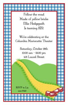 WIZARD OF OZ INVITATIONS by CTBakerDesigns on Etsy