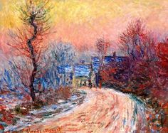 Coming into Giverny in Winter, Sunset.1885 by Claude Monet