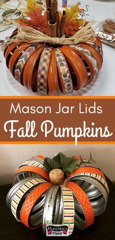 Mason Jar Lid Fall Pumpkin Decoration Ideas