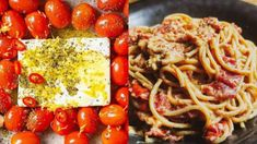 tiktok Pasta : Μακαρόνια με φέτα και ντοματίνια στο φούρνο Linguine, Feta, Spaghetti, Ethnic Recipes, Noodle
