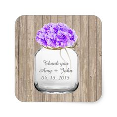 Mason jar purple hydrangea wedding favors hyd3 square sticker