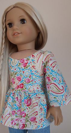 "Ruffled 1970s Style Tunic 18"" American Girl Doll Shirt 18 Inch Doll Top in Blue Paisley"