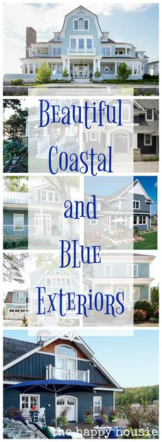 Love coastal decor and style? Check out these Beautiful Coastal & Blue Home Exteriors - The Happy Housie Hallway Paint Colors, Exterior Paint Colors For House, Paint Colors For Home, Exterior Colors, Paint Colours, Siding Colors, Coastal Cottage, Coastal Homes, Coastal Style
