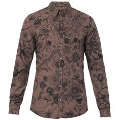 GUCCI Floral-print slim-fit shirt ($243) ❤ liked on Polyvore featuring men's fashion, men's clothing, men's shirts, men's casual shirts, men, shirts, harry, tops - blouses, brown and mens floral print shirts