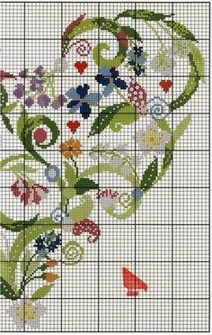 Serce z kwiatow haftem krzyzykowym | Haft krzyżykowy - inspiracje i wzory