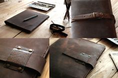 Ipad Air leather cover with space for by JustWanderlustShop