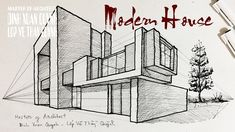 learn to draw a modern house in perspective how to draw house step by step slow tutorial ------------------------------------------------------- subs. Perspective Building Drawing, 2 Point Perspective Drawing, Perspective Images, House Design Drawing, House Drawing, 3d Geometric Shapes, Architecture Drawing Sketchbooks, Bedroom Drawing, Mysteries Of The World