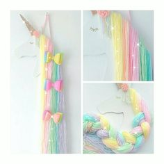 Rainbow unicorn Hair bow holder, hair clip holder, glitter bows, unicorn bedroom, unicorn nursery, girls bedroom, rainbow, hair clips by TheFarawayTreeGB on Etsy https://www.etsy.com/ca/listing/525845628/rainbow-unicorn-hair-bow-holder-hair