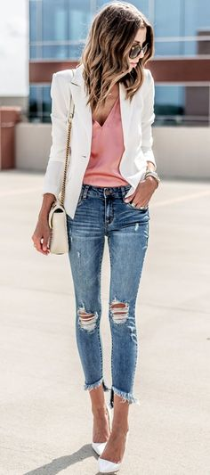 #Summer #Outfits / Ripped Jeans + White Heels