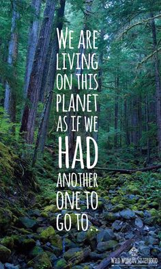 We are living on this planet as if we had another one to go to.. We are living…