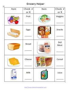 grocery helper checklist for kids