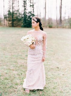 A picturesque estate, Seven Springs was the perfect backdrop of stunningly lush, manicured grounds and historic dwelling spaces. Feminine Fashion, Feminine Style, Wedding Bouquets, Wedding Dresses, Bride Gowns, Floral Arrangements, Wedding Ideas, Modern, Atelier