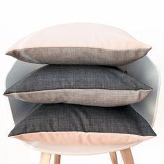 Reversible Cushion Cover - Light Grey + Blush