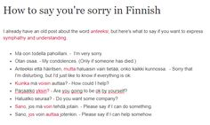 HOW TO SAY YOU'RE SORRY IN FINNISH