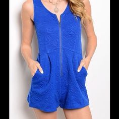 Royal Blue Romper  Royal Blue Romper. Sleeveless with front zipper. 75%Polyester 20% Rayon 5% Spandex A59. Open to offers Pants Jumpsuits & Rompers