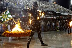 Performers from the Mocidade samba school, at the Sambadrome in Rio de Janeiro, on February 16