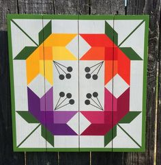 Lilies Barn Quilt on Western Red Cedar - Идеи для квилтинга - Barn Quilt Designs, Barn Quilt Patterns, Pattern Blocks, Quilting Designs, Painted Barn Quilts, History Of Quilting, Barn Art, Flower Quilts, Square Quilt
