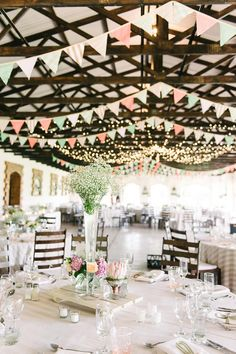 Smaller Candles around center piece.   Barn Bunting //  Mint Coral South African Wedding // Louise Vorster Photography