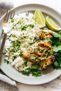 Coconut Lime Grilled Chicken Bowls! Grilled marinated chicken, fluffy rice, and excessive handfuls of mint and cilantro, finished off with a generous drizzling of big and flavorful creamy coconut lime sauce. #chicken #grilling #coconut Grilling Recipes, Cooking Recipes, Healthy Recipes, Coconut Recipes, Kitchen Recipes, Yummy Recipes, Grilled Chicken Thighs, Marinated Chicken, Grilled Chicken Recipes