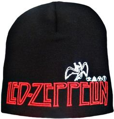 Led Zeppelin beanie in black with embroidery motif. €10