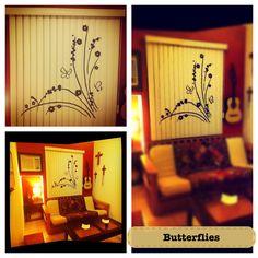 Pintando mariposas en persianas Mariposa Persiana Blind Butterfly Curtain