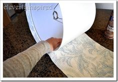 Covering a lampshade with fabric, step b  y step in pictures. ~  lol could have used this a few days ago.  :) @Dailee Kiser